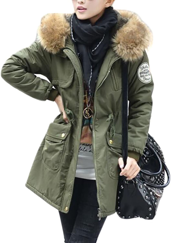 JXGWomen Cozy Faux Fur Drawstring Parkas Hoodie Military Jacket Coat