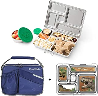 PlanetBox ROVER Eco-Friendly Stainless Steel Bento Lunch Box with 5 Compartments for Adults and Kids - Star...