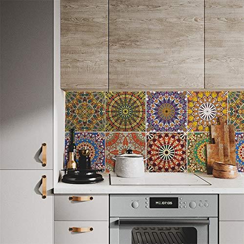azulejos adhesivos cocina,Azulejos árabes pegatinas de azulejos de cristal, cocina y baño pegatinas de pared impermeables decorativas de bricolaje 15 cm (10 piezas)