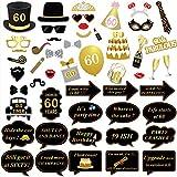 Konsait 60 Anni Compleanno Photo Booth Props (51Pcs) per 60 ° Compleanno Oro e Nero Decorazioni, Celebrazione Big 60 Festa di Compleanno Foto Cabina Accessori per Uomo Donne