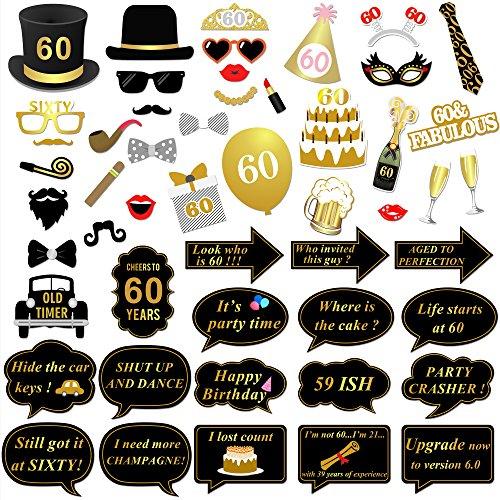 Konsait 60.os cumpleaños Photo Booth Props Fotos Accesorios (51 Piezas) para 60 cumpleaños Decoracion de Oro y Negros 60 Años de Antigüedad Fiesta de Cumpleaños Decoraciones para Hombres Mujeres