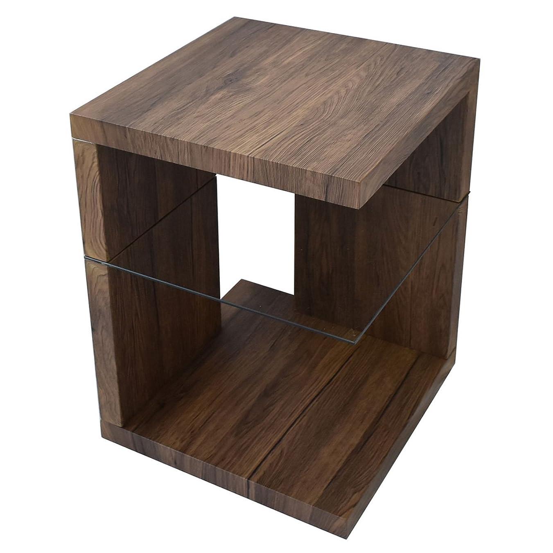 もっと公使館コンクリートサイドテーブル 395×395×605mm (ブラウン) FLASH ヴィンテージ ガラス 古材風