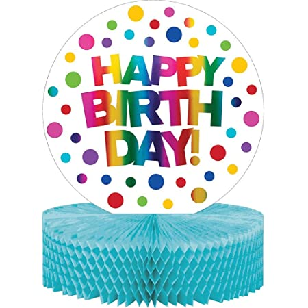 Creative Converting Metallic Rainbow Birthday Honeycomb Centerpiece