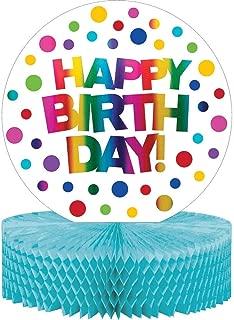 Creative Converting 331789 12ct Rainbow Foil Happy Birthday Party Honeycomb Centerpiece 13