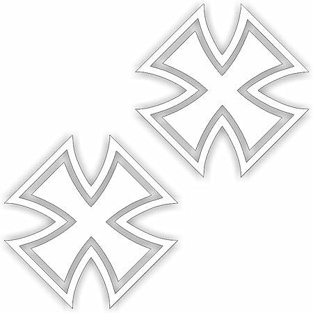 Folien Zentrum 2x Eiserne Kreuz 7 X 7 Cm Weiß Aufkleber Tuning 37 Shocker Auto Jdm Oem Dub Decal Sticker Illest Dapper Oldschool Folie Auto