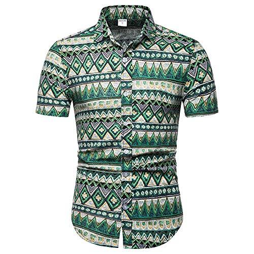 Jinyuan Camisa De Flores De Verano para Hombres Camisa Delga