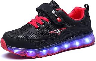 bede63af65077 GJRRX Enfants LED Chaussures de Sport 7 Changement de Couleur Chaussure USB  Rechargeable LED Lumineuse Baskets