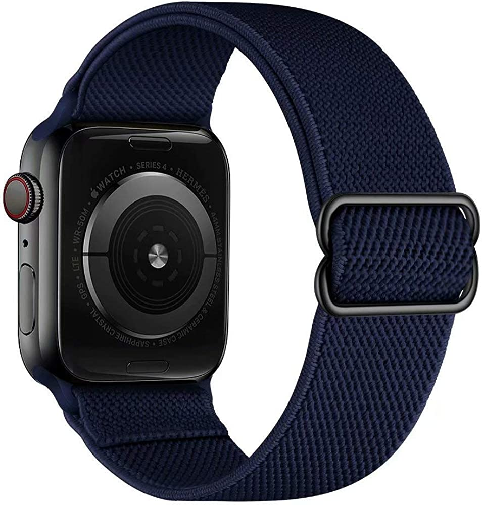 VeveXiao Sport Solo Loop Band Compatible with Apple Watch SE Strap 44mm 40mm 42mm 38mm, Adjustable Stretch Braided Elastics Nylon Replacement Wristband for iWatch Series 6/5/4/3/2/1