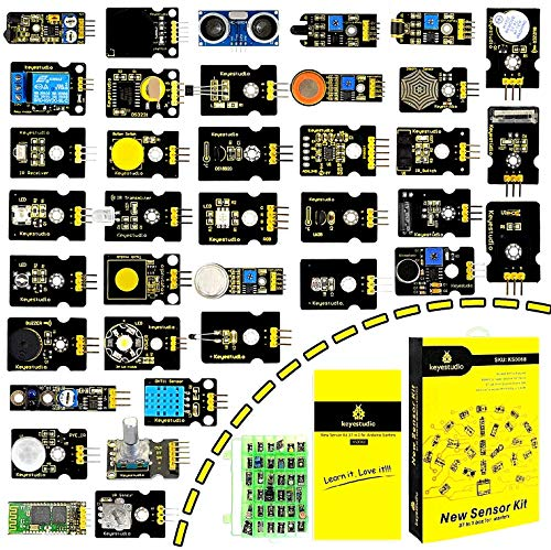 KEYESTUDIO 37-in-1 Kit Modulo Sensore con Tutorial, PDF in Inglese Kit di Sensori for Arduino Uno, Raspberry Pi, Mega, Nano