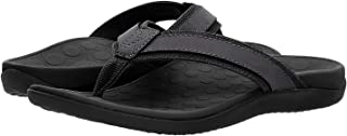 Vionic Mens Tide Toe Post Sandal - Leather Trim & Updated Tread Pattern Proven to Effectively Alleviate Heel Pain. Featuring Podiatrist Design Tri-planar Motion Control Footbed