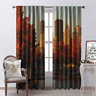 GloriaJohnson City Wear-Resistant Color Curtain Old Port of Montreal Early in The Morning Scenic Autumn Trees Buildings Canada Waterproof Fabric W52 x L63 Inch Red Orange Brown