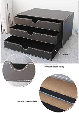 TYI -Desk Organizer with 3 Drawers Leather,Office Documents Desktop Storage Box File Cabinet for Stationery/A4 Paper/Magazine