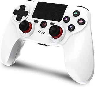 TopACE PS4 コントローラー ワイヤレス Bluetoothリンク遅延なしジャイロセンサー機能 イヤホンジャック ゲームパット搭載 高耐久ボタン 二重振動 日本語取扱説明書 PS3 コントローラー(ホワイト)
