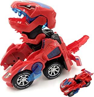 Kidsonor Kids Transformed Dinosaur Robot Car, Electronic Dino Robot Vehicle Car Toy Battery Power with LED Light Music (Red Dino)