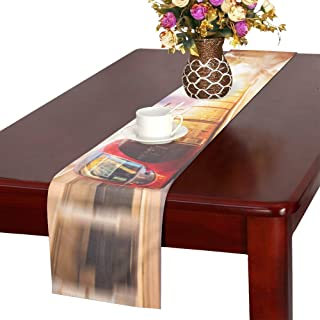MBVFD Tv Table Runner Old-Fashioned Red Tram On Street Girly Table Runner Girly Table Runner 16x72 Inch for Dinner Parties Events Decor