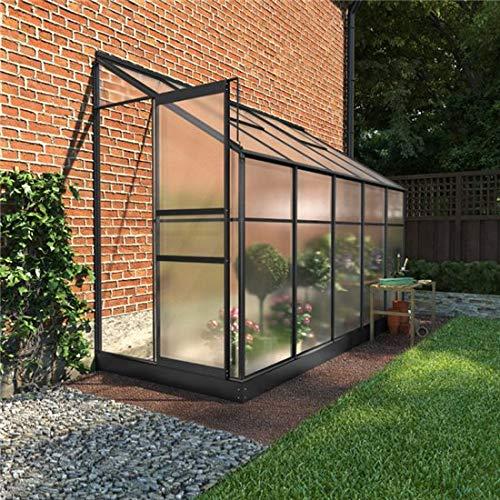 BillyOh Polycarbonate Aluminium Metal Frame Lean-To Greenhouse Grey (4 x 10)