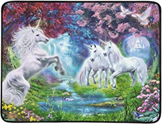 Horned White Horse Fantasy Art Blooming Trees Flow Pattern Portable and Foldable Blanket Mat 60x78 Inch Handy Mat for Camping Picnic Beach Indoor Outdoor Travel