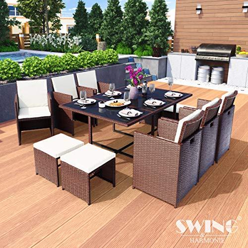 Swing & Harmonie Polyrattan Sitzgruppe Esstisch Lounge Sitzgarnitur Essgruppe Gartenmöbel Set (11-Teilig, Braun)