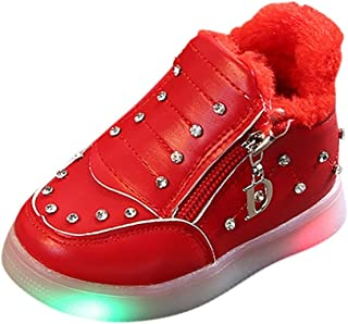 Toddler Baby Boys Girls Casual Patchwork Led Light Luminous Sport Run Sneakers Shoes (15Months-6Years)