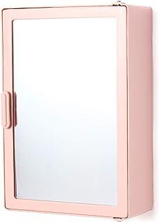 zahab Acrylonitrile Butadiene Styrene Bathroom Mounted Cabinets for Storage with Mirror Door Wall (25 x 9.5 x 35 cm, Pink)