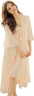 Fantastic Satin Robe Set Lace Chemise Full Slips with Victorian Robe