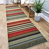 Custom Size Hallway Runner Rug - 22 in x 7 feet - Price Drops by Size - Rubber Backed Non Slip Stripes - Choose Width x Length