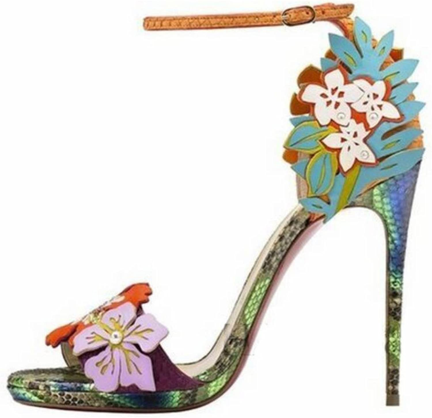 High-heeled sandals Europe and the United States fashion high-heeled flowers serpentine hollow hit color women shoes