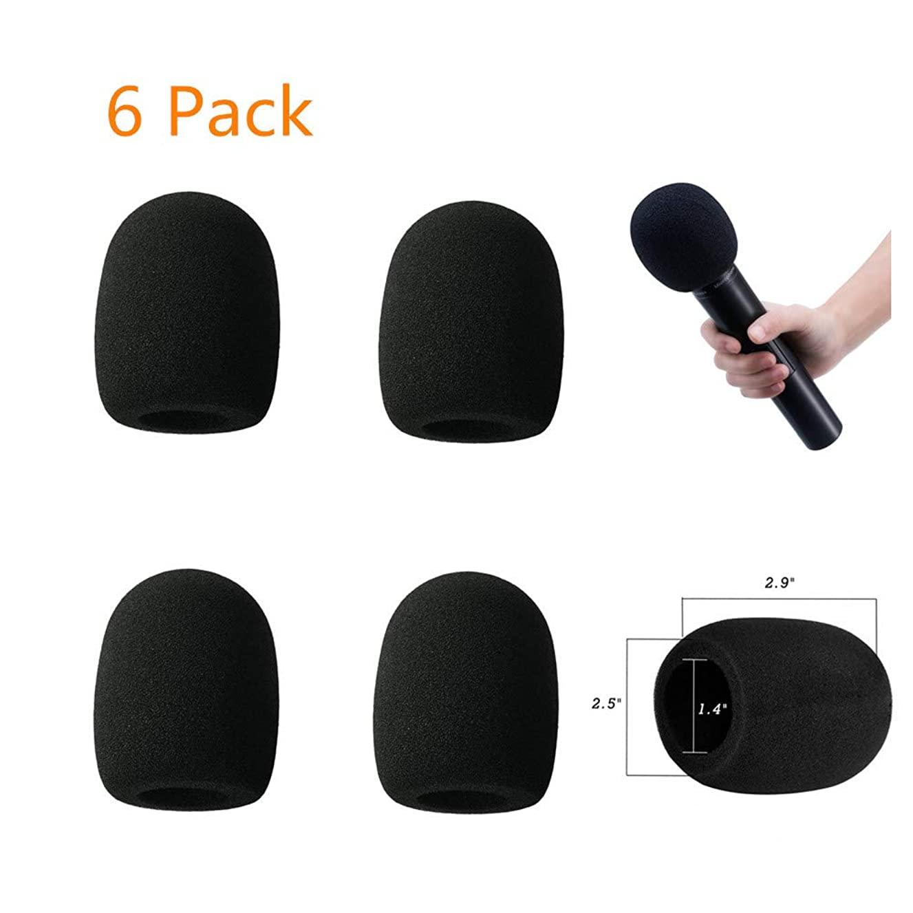 Microphone Cover, MeetRade 6 Pack Microphone Windscreen Foam Cover Mic Cover Audio Protector (Black)