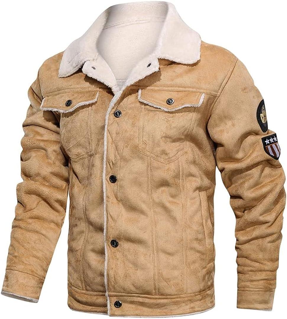 Men's Fur Leather Jacket Coat Retro Suede Streetwear Thicken Leather Bomber Jacket