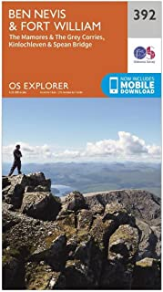OS Explorer Map 392 Ben Nevis and Fort William, The Mamores and The Grey Corries, Kinlochleven and Spean Bridge OS Explorer Paper Map (OS Explorer Active Map)