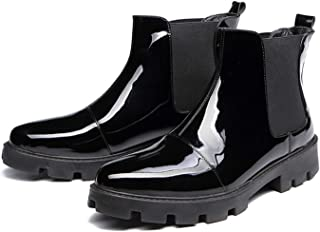 FUNPLUS Hommes Chelsea Bottes Automne Hiver Classique Bottines Mode Plate-Forme Chaussures Homme en Cuir Verni Slip-on Sho...