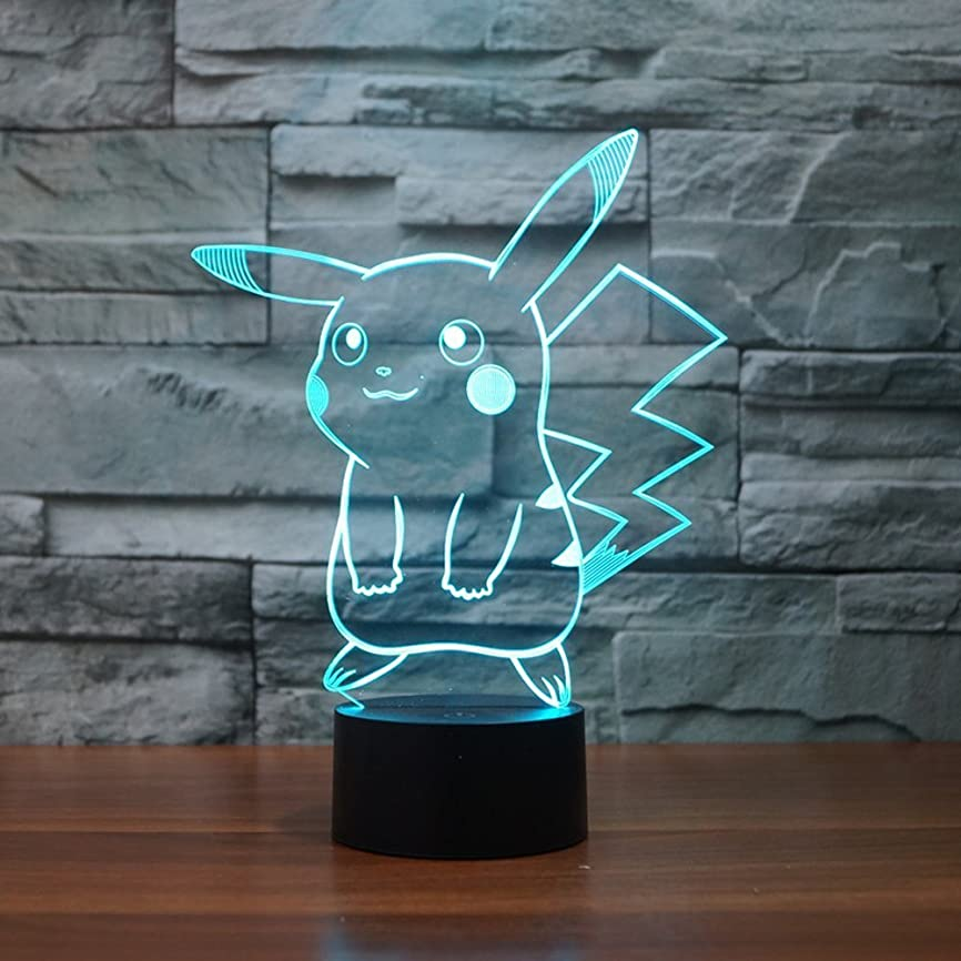 日焼け実験室オーバーフローPokemon Pikachu 3d LEDナイトライト、Elstey 3d Optical Illusion Visualランプ7色タッチテーブルデスクランプ