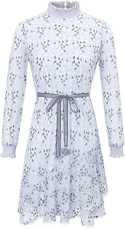 Women's Lace Dress  Stand Collar Retro Long Sleeve Skirt  Temperament Super Fairy Openwork Lace Soft Comfortable Skirt