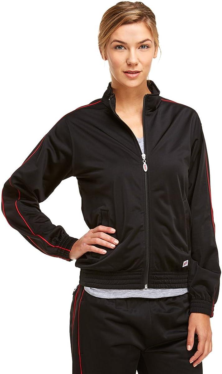 Soffe Girl's Warm-Up Jacket , Black/Red , Medium