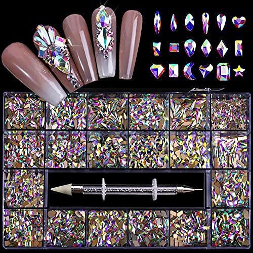 Hampous Kit de diamantes de imitación para uñas, 21 celdas, 3D, 12 tipos de 1000 diamantes en forma especial para kit de cristal de uñas con bolígrafo