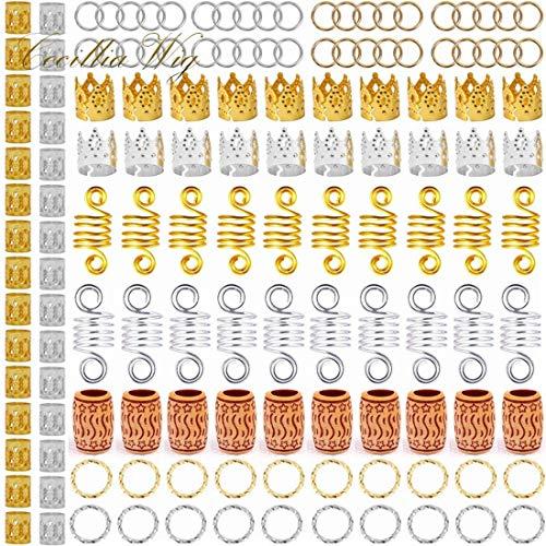 Beautywin 140 Pieces Aluminum Hair Coil Dreadlocks Beads Hair Cuffs Hair Braids Clips Hair Decoration Wooden Braid Jewelry for Braids Accessories