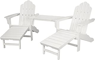 Hanover Rio 3-Piece All-Weather Chat Set with Hide-Away Ottoman in White