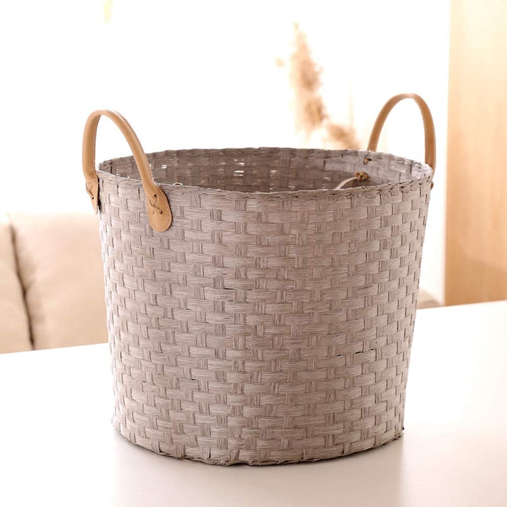AIWQTO Rattan San Francisco Popular shop is the lowest price challenge Mall Hand-Made Laundry Basket Portable Leather Handle S