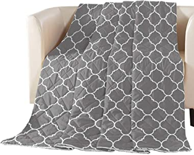 T&H XHome Ultra Soft Comforter Oversized King Size Cotton Filled - All Seasons Puffy Warm - Lightweight & Luxurious - Geometric Patterned Quilted Bed Comforter