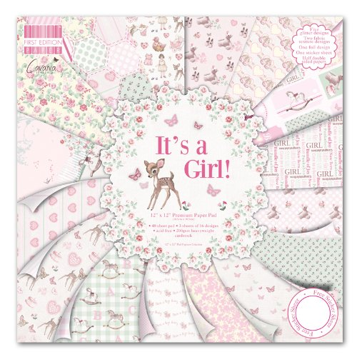 "First Edition It\'s a Girl Premium Paper Pad 12""x12\"" 48 Sheets (FSC)"
