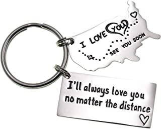 LParkin Love Keychains for Couples I Love You More Than The Miles Between Us I'll Always Love You Long Distance Relationship Gift Going Away State Keychain