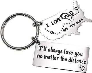 سلسلة مفاتيح LParkin Love للأزواج I Love You More Than The Miles بين الولايات المتحدة سوف أحبك دائمًا لعلاقة مسافات طويلة ...