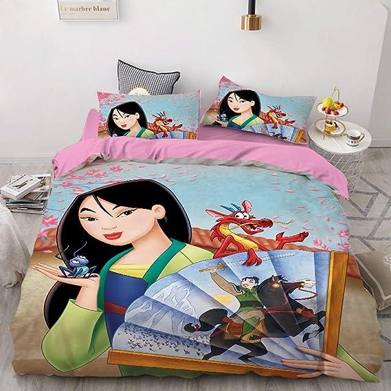 N01,Single 135x200cm SL-YBB Mulan Bettbez/üge Disney Prinzessin Bettbezug Kinderbettbezug Mikrofaser Digitaldruck Animation Bettbezug 3D-Paar hei/ßen Stil Komfort und W/ärme