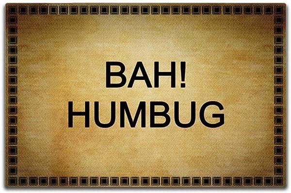 J L House Creative Non Slip Mat Bah Humbug Funny Rug Indoor Outdoor Doormat Rubber Back Dirt Trapper Doormats Low Profile Washable Carpet Home Decor 15 7 X 23 6 Inch