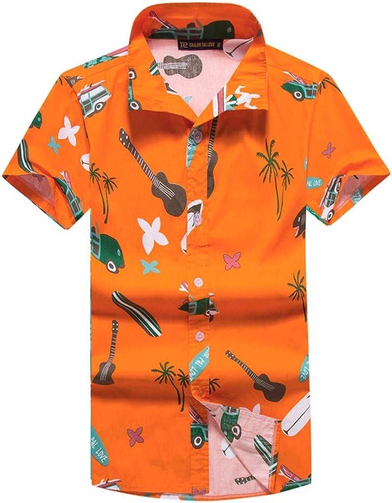 MODOQO Shirt for Men-Fashion Beach Style Printing Soft Cotton Short Sleeve Top Blouse
