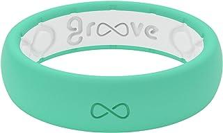 Groove Life سيليكون خاتم زفاف للنساء - خواتم مطاطية مسامية للنساء، تغطية مدى الحياة، تصميم فريد، خاتم نسائي مريح - رقيقة صلبة