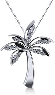 Diamond Tropical Summer Palm Tree Pendant Necklace in 14k White Gold (0.24ct)