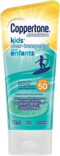 Coppertone Kids Clear Sunscreen Gel Spf 50Water Resistant Body Lotion Rubs In Clear With A Cool Blue Tint, Blueberry Scent...