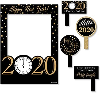 Big Dot of Happiness New Year's Eve - Gold - 2020 New Years Eve Party Selfie Photo Booth Picture Frame & Props - Printed on Sturdy Material