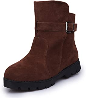 Short Boot for Women Spring Wugeshangmao Girl's Fashion Shoes,Ladies Women Winter Warm Snow Ankle Boots Buckle Match Solid Boots Shoes Outside